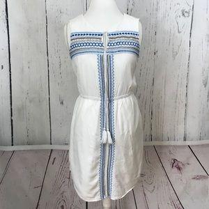 Kenji Beaded and Embroidered White BoHo Dress